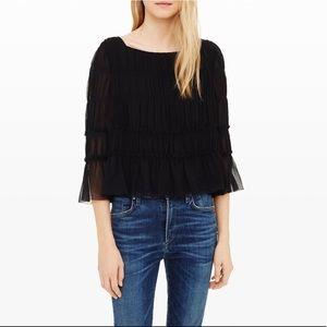 ✨NWT✨Club Monaco Hylda Silk Ruffle Blouse in Black